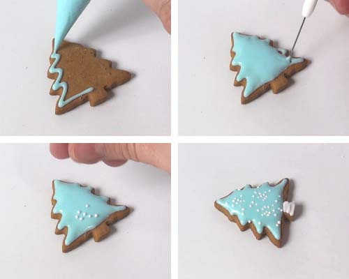 Flooding a small tree cookie with royal icing.