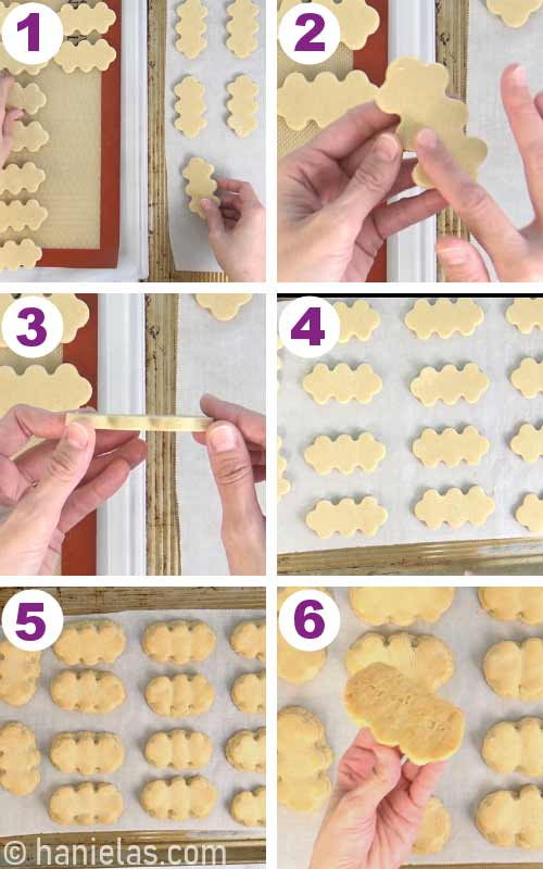 Placing dry cookies onto a baking sheet.