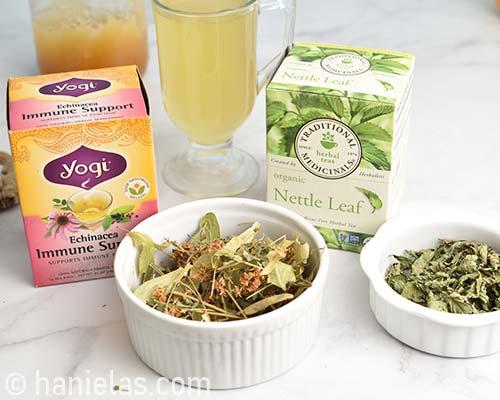 Herbal tea in boxes.