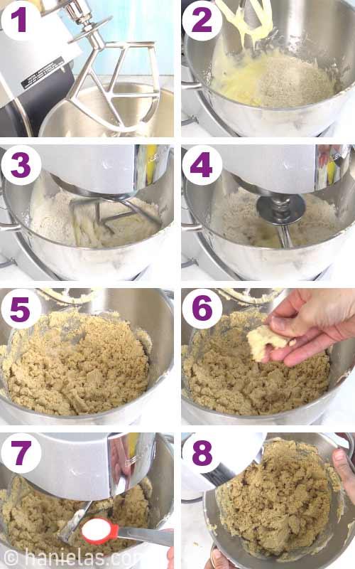 Beating flour into a cookie dough.