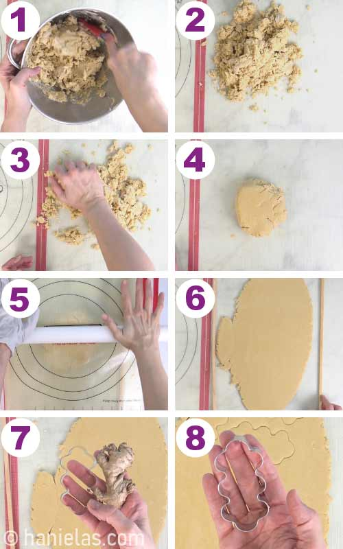 Gathering cookie dough into a disk and rolling it out with a rolling pin.