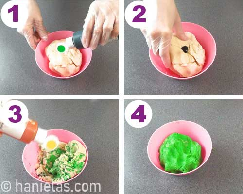 Kneading food color into a cookie dough.