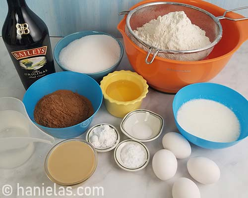 Baileys cake ingredients on a table.