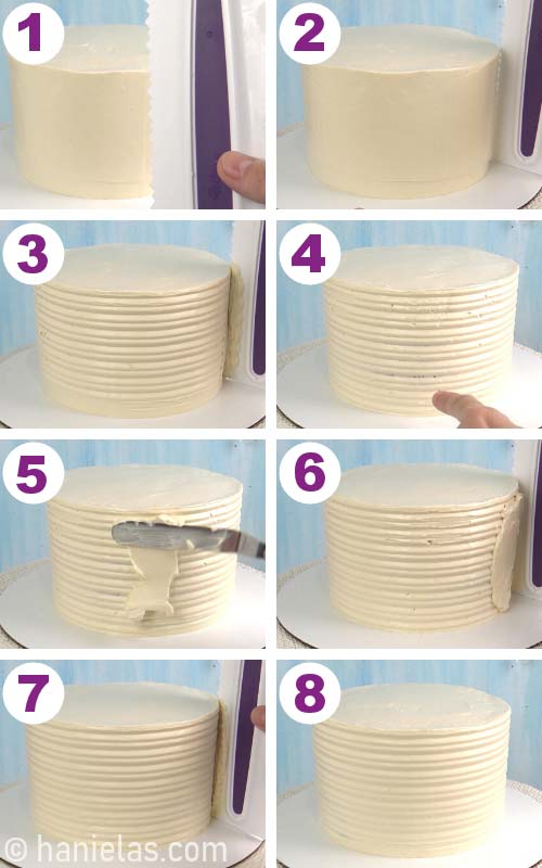 Smoothing the sides of the cake with textured icing comb.