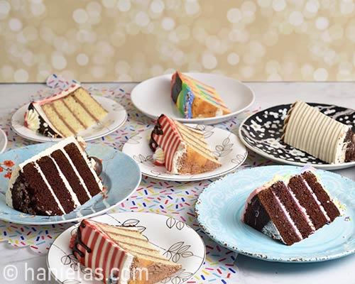 Cake slices on plates.