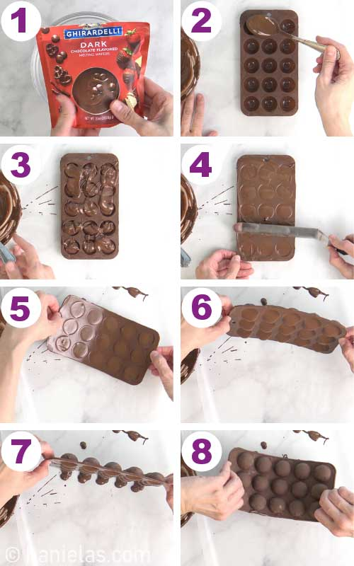Filling a silicone mold with melted chocolate.