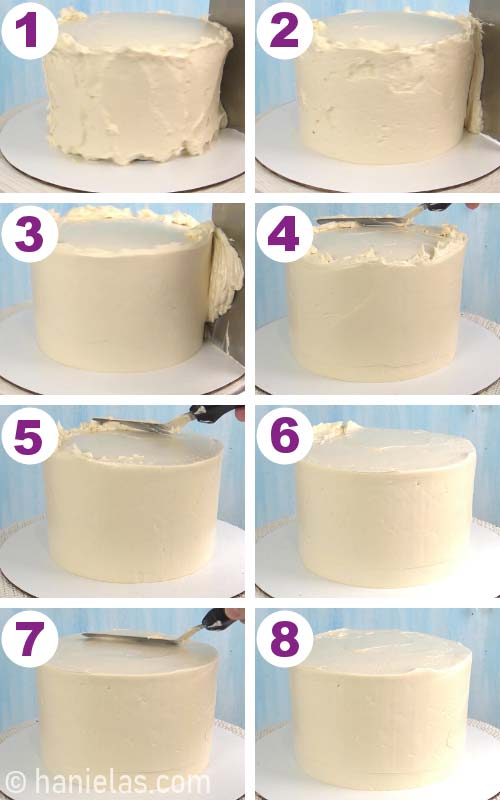 Smoothing frosting on a cake with icing smoother.