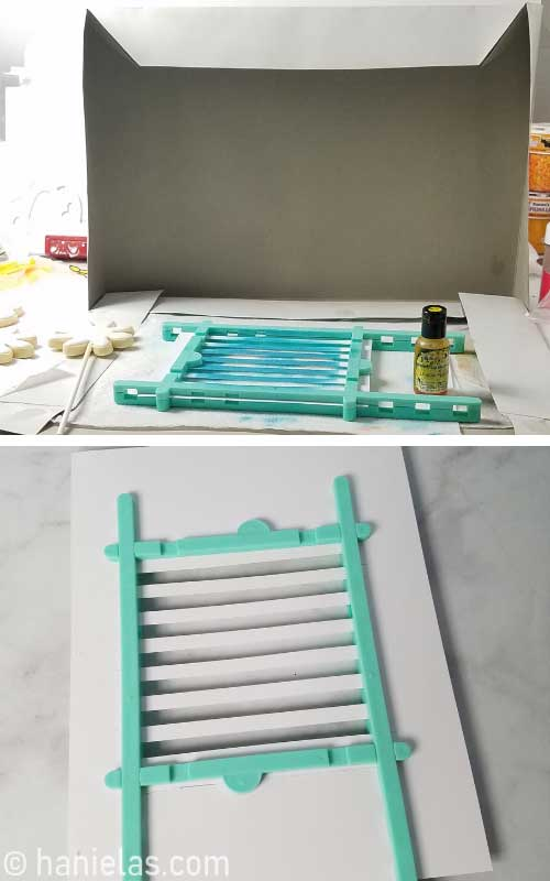 Airbrushing station set up from a gift box.