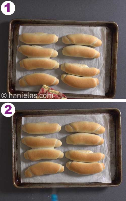 Spraying freshly baked hot buns with water.