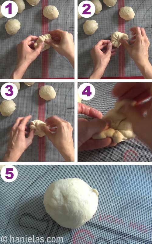 Shaping small pieces of yeast dough into balls.