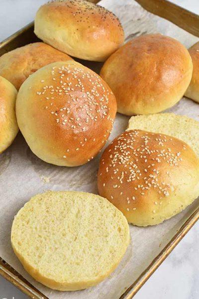 Baked hamburger buns.