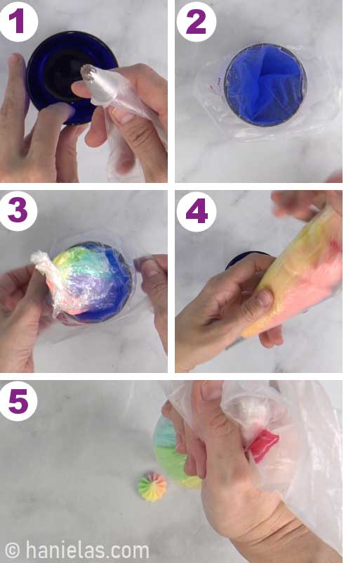 Fitting a piping bag with a start tip and filling it with rainbow frosting.