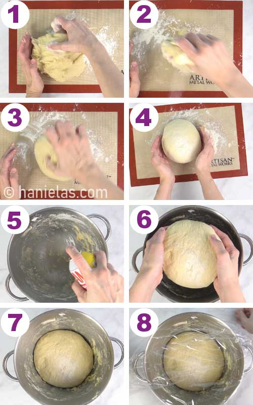 Shaping yeast dough into a ball.