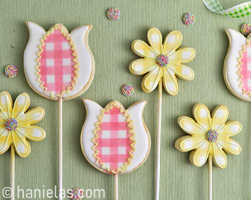 Decorated sugar cookies displayed flat on a table.