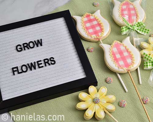 Decorated flower cookies.