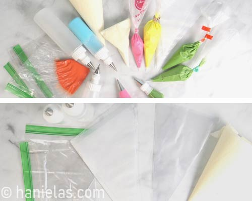 Plastic piping bags, disposable piping bags icing bottles on a counter.