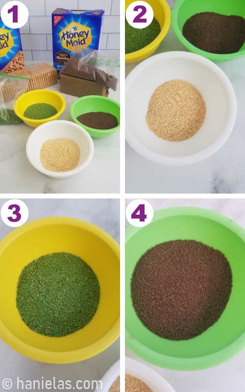 Cookie sand, moss and dirt in small bowls.