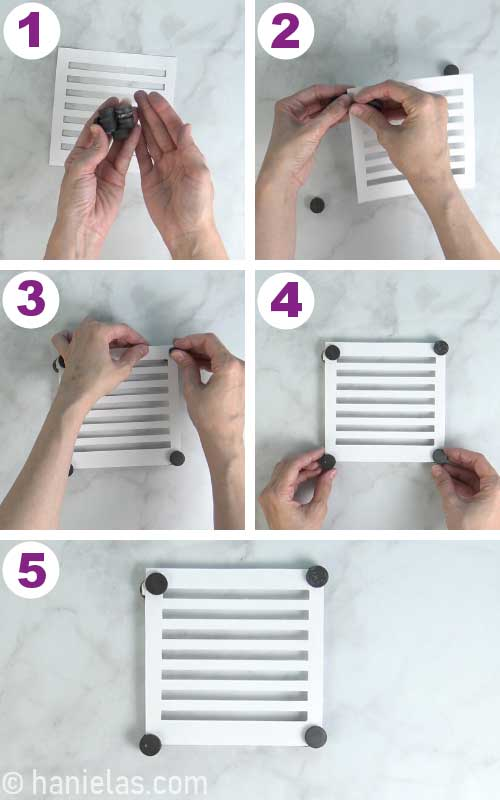 Securing a stencil with magnets.