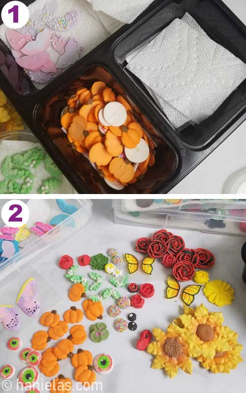 Royal icing decorations in a plastic container.