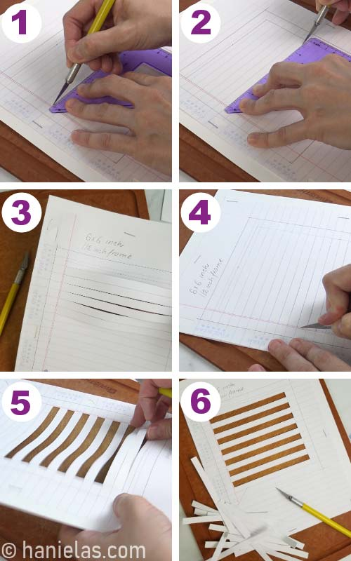 Cutting through lined paper and card stock with an exacto knife.