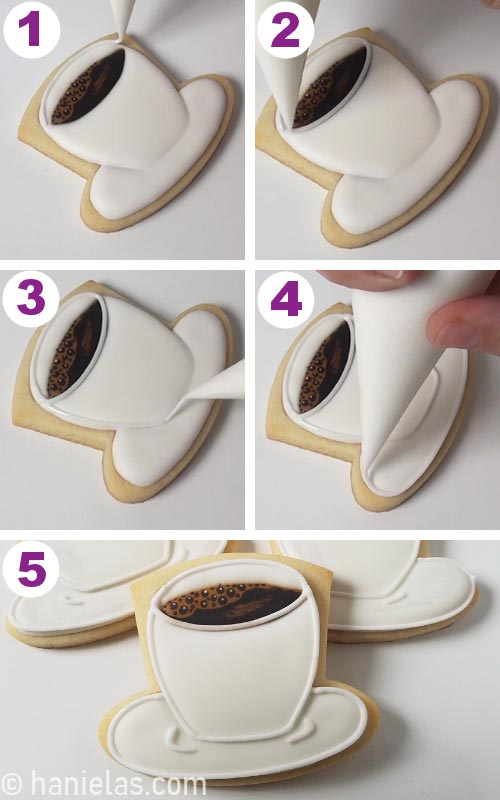 Outlining a cookie with white icing.