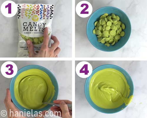 Melted green chocolate in a bowl.