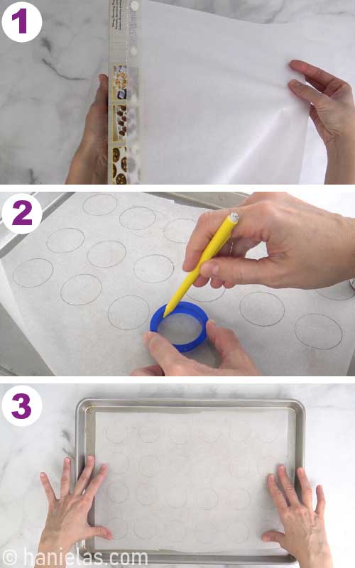 Tracing rounds onto a parchment with a pencil.