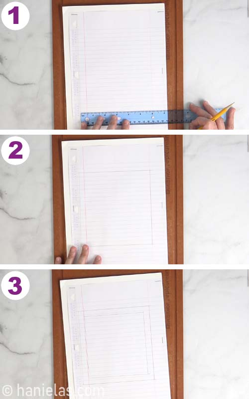 Using a ruler to draw a stencil frame.
