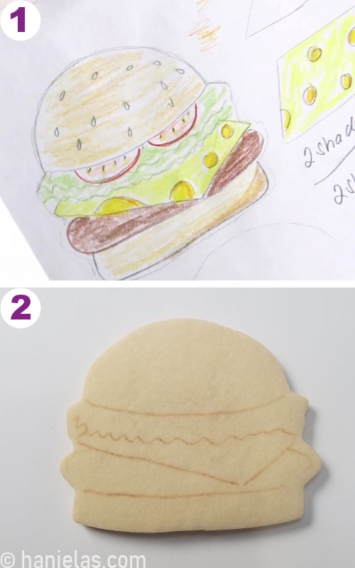 Sketch of hamburger cookie design.