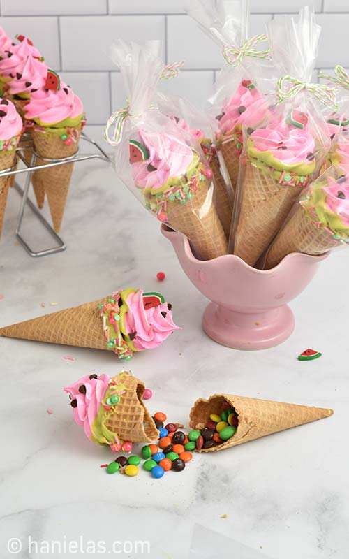 Ice cream cone cookies package in a clear bags.