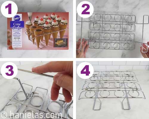 Assembling an ice cream cone baking rack.