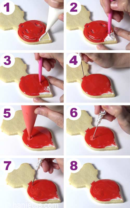 Flooding a radish shaped cookie with red and white icing and blending them together with a needle tool.