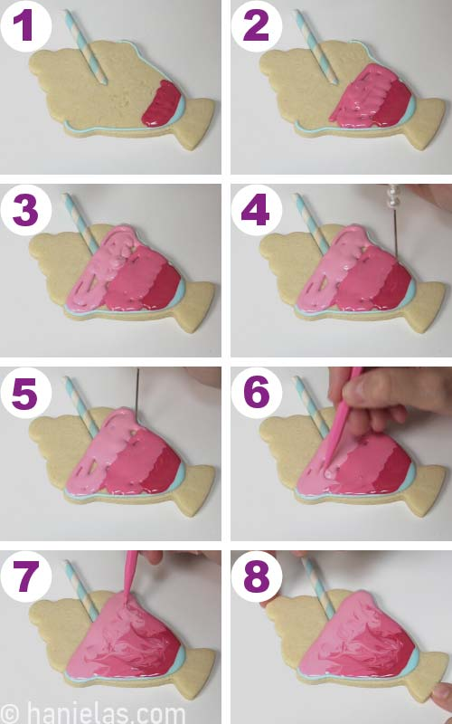 Flooding a cookie with 3 shades of pink. Marbling icing with a pointy tool.