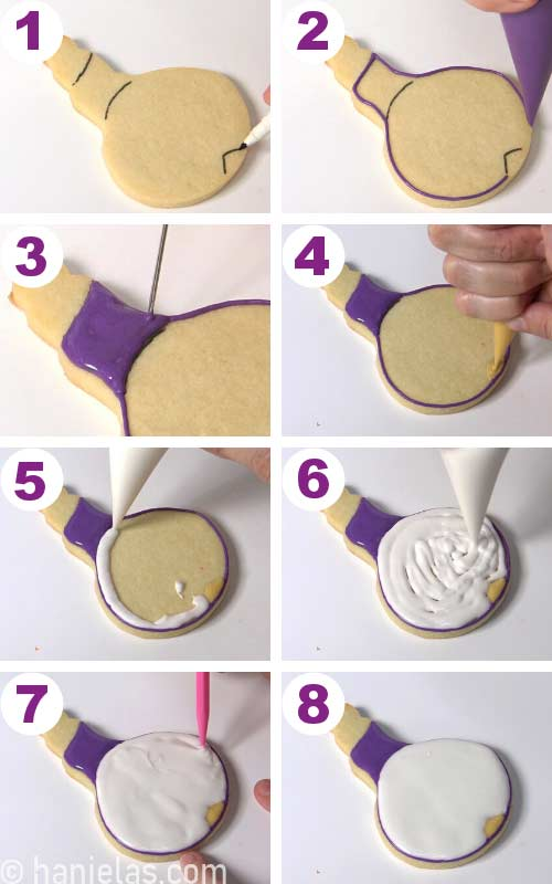 Decorating a sugar cookie shaped like an onion with purple and white royal icing.