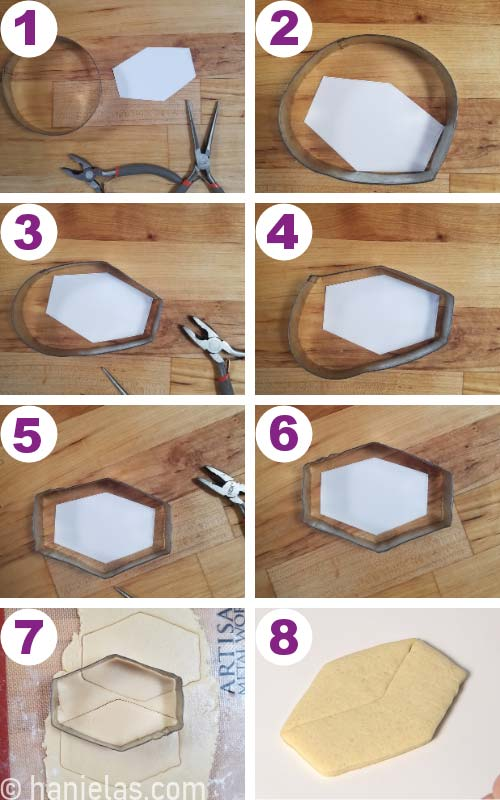 Shaping an old cookie cutter with pliers to make a new cookie cutter shape.
