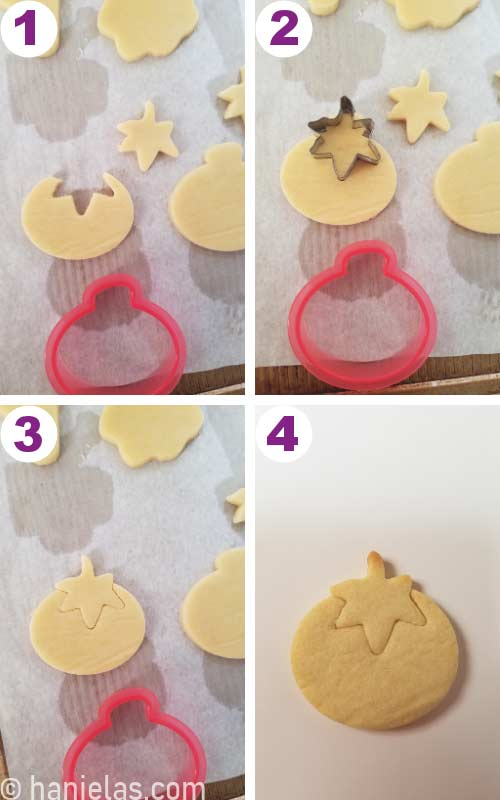 Constructing a tomato cookie using two cutter.