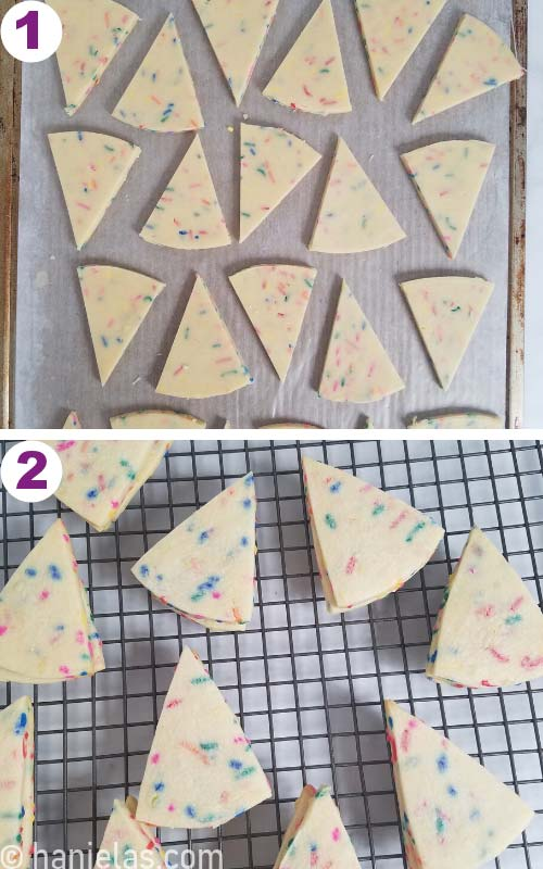Cut out wedge cookies on a baking sheet.