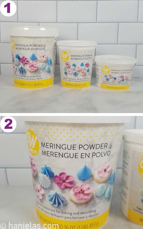 Meringue powder in three containers of different sizes.