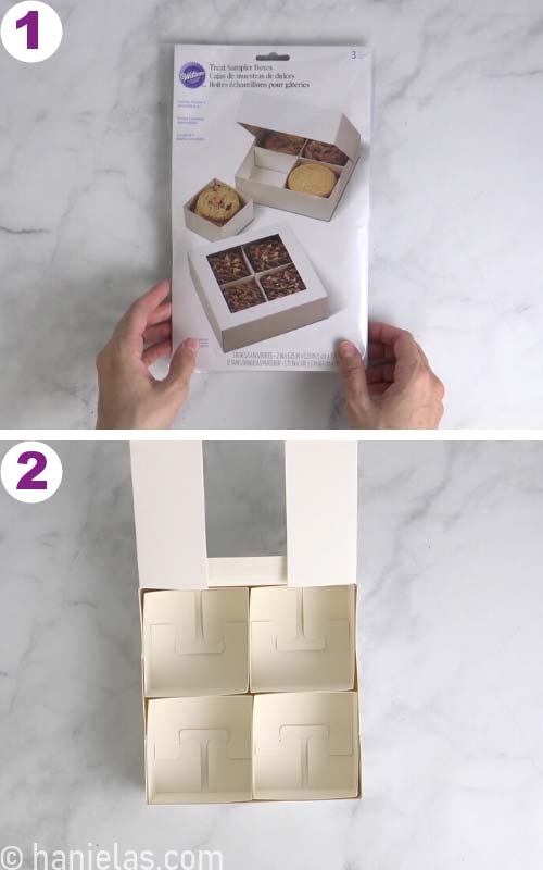 Assembling a bakery box.