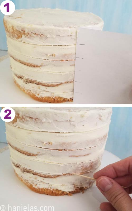 Dividing cake into equal stripes, using a toothpick to create guides.