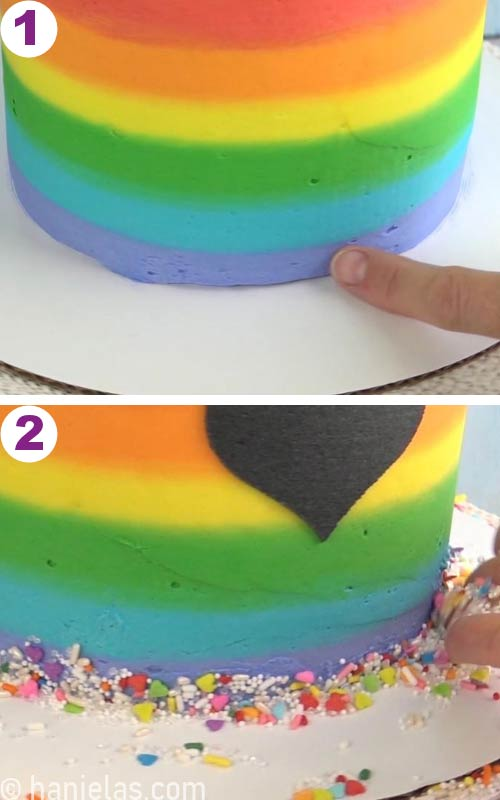 Decorating bottom of the cake with sprinkles.