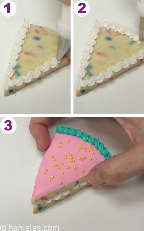Gluing two cookie together.