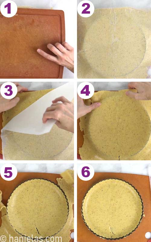 Inverting rolled out cookie dough into a tart pan.