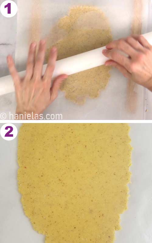 Almond cookie dough rolled out between 2 pieces of parchment paper.
