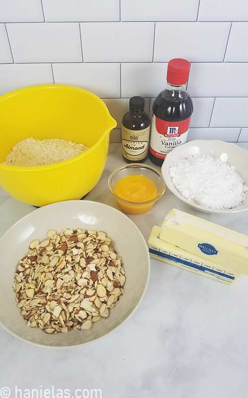 Ingredients for almond tart.