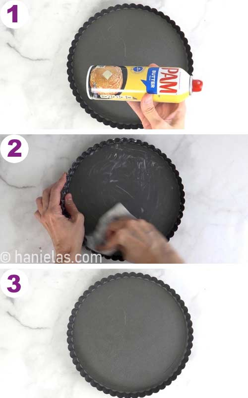 Spraying a tart pan with a nonstick spray.
