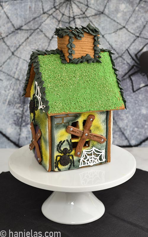 Side of the decorated Halloween gingerbread house.