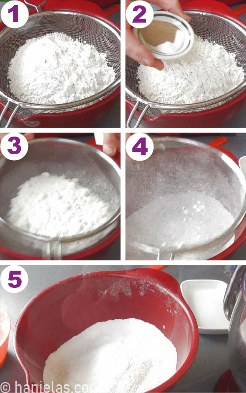 Sifting flour, baking soda and salt into a bowl.
