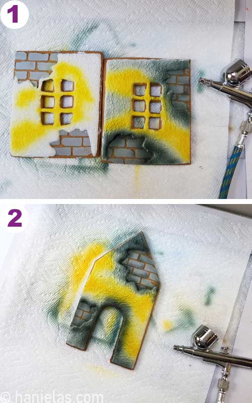 Airbrushing gingerbread house panels.