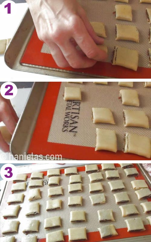 Placing unbaked cookies onto a baking sheet lined with silicone baking mat.